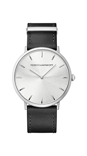 Rebecca Minkoff Women's Stainless Steel Quartz Watch with Leather Calfskin Strap, Black, 20 (Model: 2200011)