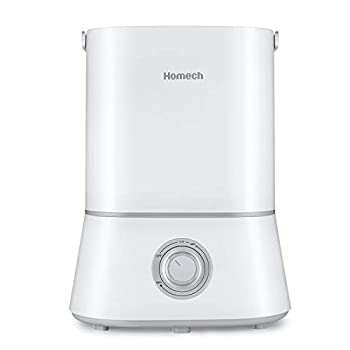 Homech Cool Mist Humidifier 26dB Quiet Ultrasonic Humidifiers for Bedroom 4L Air Humidifier for 12-50 Hours of Run Time 360° Nozzle Auto Shut-Off and Easy to Clean