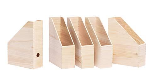 VBS 5er-Pack Stehsammler aus Holz Zeitschriftenbox Steh-Ordner Zeitschriftensammler mit Griffloch 30,5x25x9cm