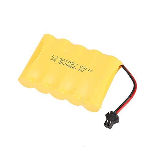 Ba30DEllylelly Batería Recargable de 6 V 2000 mAh para RC 1/16 Coche de orugas de Escalada WPL B-1 / B-24 / C-14 / C-24 / B-16 Piezas de Repuesto para Camiones Accesorios