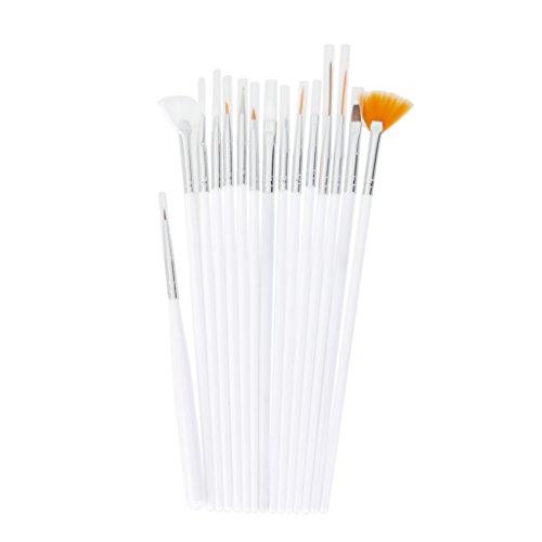 Set 15pcs Pinceaux à Ongles Outil de Dessin Pointillage pour Nail Art - Blanc