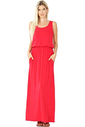iconic luxe Women's Sleeveless Maxi Dress with Elastic Waist Large Red