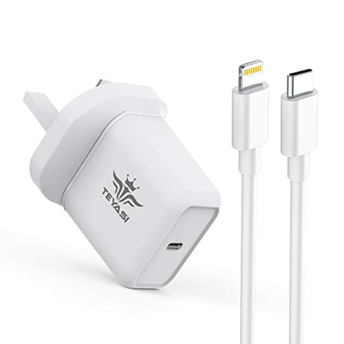 TEYASI 18W USB C Charger Plug and Cable 1M Fast Charging for iPhone 12 11 Pro Max X XR XS 8 SE 2020 iPad,Type C Power Delivery 3.0 Adapter Plug UK and USB C PD Charge Lead etc