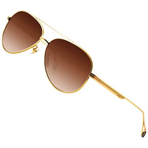 ATTCL - Gafas de sol polarizadas vintage para conducir para hombre y mujer, estilo retro clásico, Marrón (Dorado/marrón (no espejo).), Medium