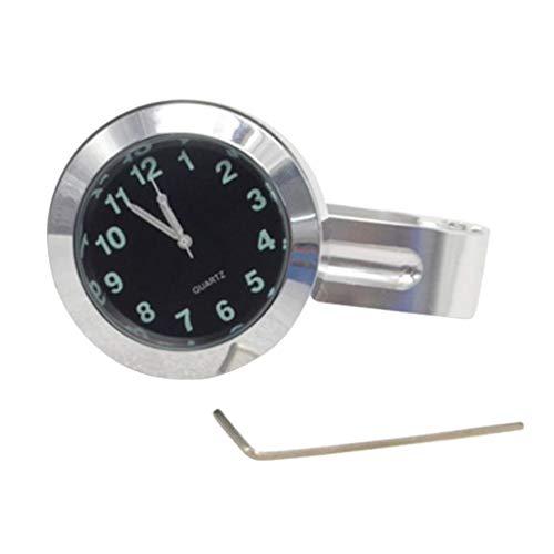 H HILABEE Universal Motorrad Lenkeruhr Zifferblatt Uhr für 22mm/ 25mm Lenker, Wasserdicht, Stoßfest, Langlebig - Silber
