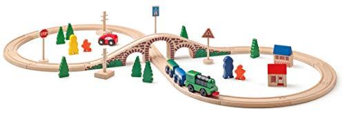 Woodyland - Pista in Legno 40 Pezzi con Un Trenino A Batteria E 2 Vagoni