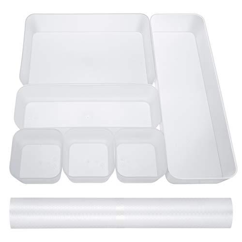 Cabilock Schubladen Organizer mit Schubladenmatte Anti-Rutsch Schubladeneinsätze Aufbewahrung für Küche Büro Schminktisch Kosmetik Desktop Lagerung (7-teiliges Set)