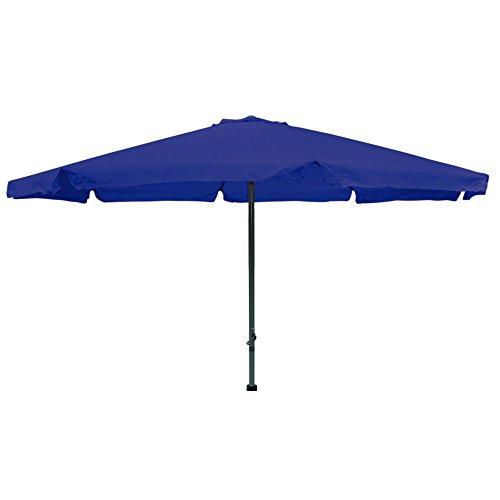 4 meter Sonnenschirm mit Kurbel und Krempe blau