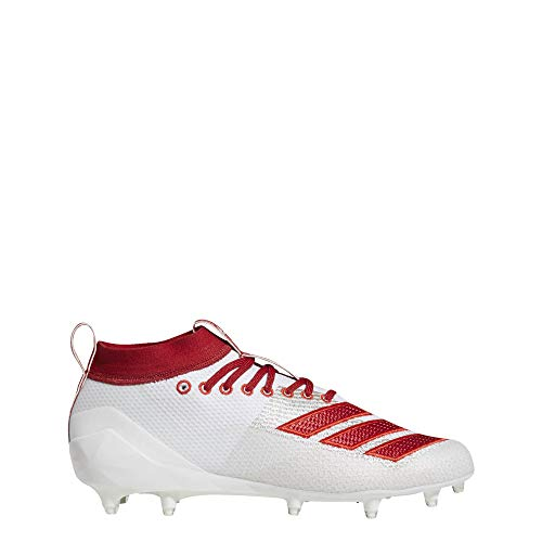 adidas Men's Adizero 8.0 Football Shoe, White/Power red/Active Red, 10.5 M US