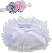 Baby Girls Tutu Bloomers Diaper Cover Cotton Tulle Bloomers and Headband Set White 6-12 Month