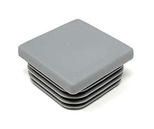 Design61 - Tapón cuadrado para tubos (10 unidades, 40 x 40 mm, con láminas para dimensiones interiores 34 – 38 mm), color gris