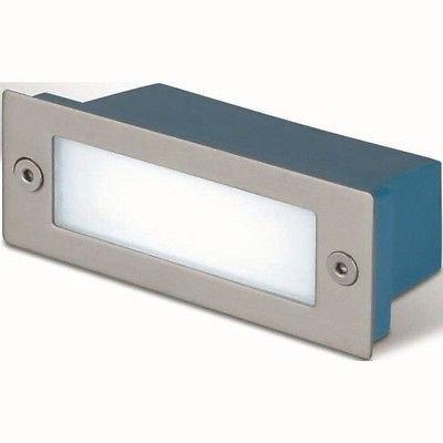 takestop FARETTO 2W 3000K Giallo Caldo Acciaio 110x45MM Luce LED Incasso Muro SEGNAPASSO CORRIDOIO STANZE Sale Scale GRADINI IP65
