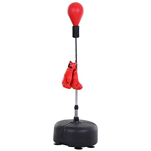 HOMCOM Saco de Boxeo de pie Punching Ball con Base Estable para Entrenar Reflejos y Coordinación Ajustable en Altura para Adulto y Adolescente Ф48x136-154cm Rojo