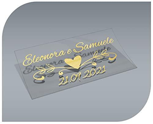 Pegatinas Personalizadas Transparentes con Nombre y Fecha, Etiquetas Adhesivas para Invitacion Boda, Bautizo, Compromiso, Comunion, Cumpleaños, Fiesta, Vintage, Sellos (Modelo 11)
