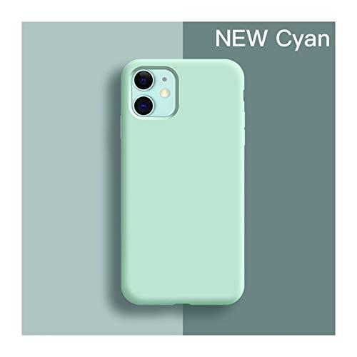 KEHUITONG PSWK Funda Suave Delgada para iPhone 7 8 6 6S Plus 4 5 SE2 Cubierta de Silicona líquida Original CUCHE CUCHA Capa para iPhone X XS 11 12 Pro MAX XR (Color : Cyan, Material : For 12 (6.1))
