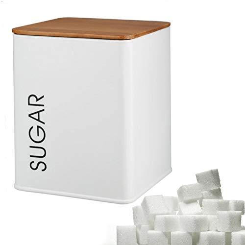 Kerafactum - Zuccheriera con coperchio per tè sfuso, stile vintage, in metallo, con coperchio in bambù, guarnizione in silicone