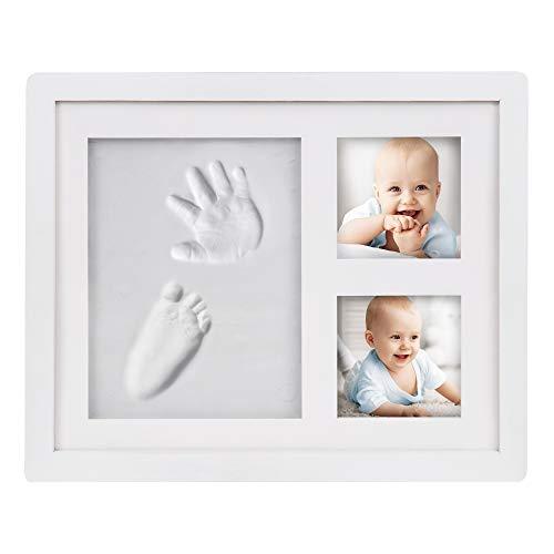 Edaygo Baby Hand- und Fußabdruck Bilderrahmen Set Gipsabdruck Fotorahmen Set Pfoten Gipsabdruck Haustiere, Echtholz und PVC, Weiß, 23 x 28 cm
