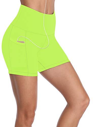 HISKYWIN 5'/8' Inseam High Waist Women Yoga Shorts Tummy Control Stretch Workout Running Shorts with Pockets F18011-Fluorescent Yellow-M
