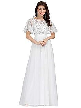 Women s Short Sleeve A Line Maxi Formal Party Dress Bridal Dress White US8