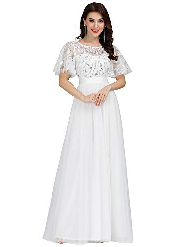 Ever-Pretty Women's Elegant Embroidery Lace Wedding Dress Long Prom Gown White US14