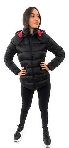 Museum Damen Daunenjacke mit abnehmbaren Kapuze Zwei Taschen mit Knopfverschluss., Schwarz 42