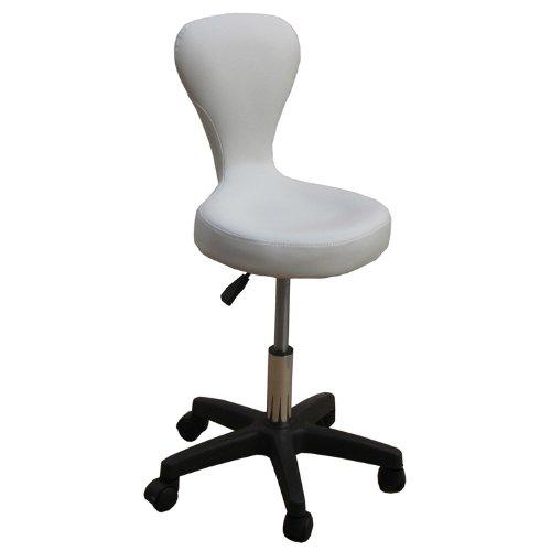 EYEPOWER 12634 Kosmetikhocker aus Leder weiß, Sitzhöhe stufenlos höhenverstellbar