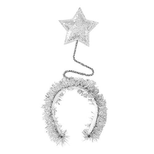 PRETYZOOM Pailletten Stirnband Glitter Star Boppers Stirnband Folie Kopfschmuck für Kinder Mädchen Kinder Frauen Kostüm Haarschmuck (Silber)