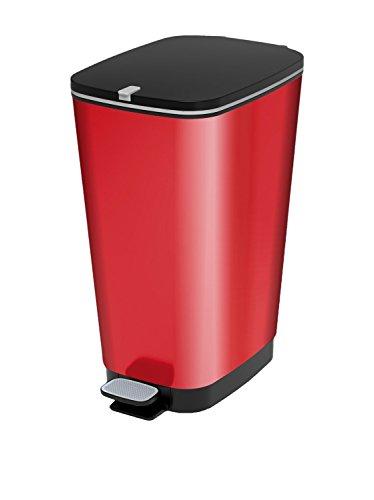 Curver Pattumiera Chic L rojo, cubo de basura decorado con pedal con anillo de talón para bolsa de 50 lt, 29 X 44.5 X 60.5 centímetros