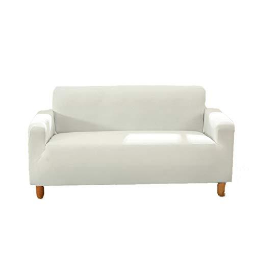 Sofabezug, 1-, 2-, 3-, 4-Sitzer-Sofaüberzug, Stretch-Stoff, Sofaschoner, elastisch, eng anliegend, Sofabezug, Sofa-Möbelbezug, mehrfarbig (weiß, 2-Sitzer)