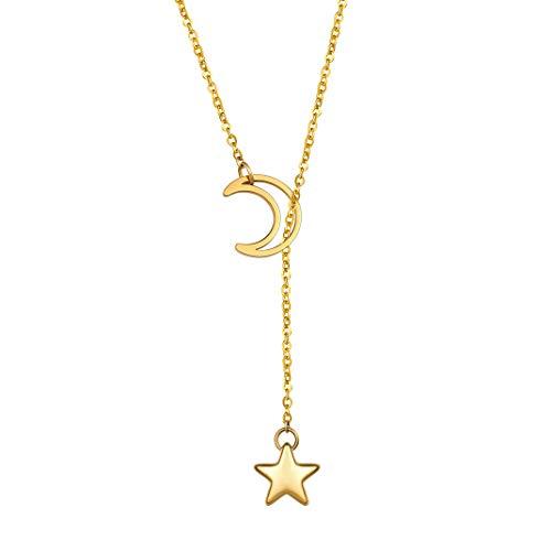GoldChic Jewelry Gouden Lange Lariat Ketting, Bar/Cirkel/Slot/Ster/Roos/Parel y Ketting Voor Vrouwen, Eenvoudige Stijl Sieraden Cadeaus Voor Haar, Kan Aangepaste Gravure
