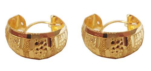 Certified Indian Handmade Solid 22K/18K Stamped Fine Gold Carved Hoops Earrings