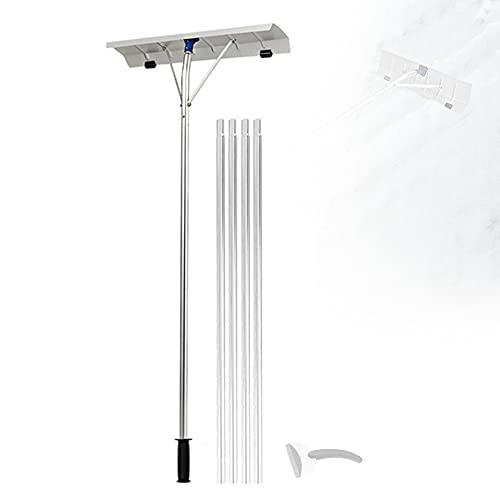 Rastrillo quitanieves telescópico, herramienta de remoción de nieve de aluminio de 6.4M/21FT con rodillos móviles, adecuada para quitar nieve Sale de y escombros (Pala de nieve para coche gratis),A