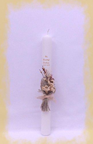 FIESTADEKOR Vela (CIRIO) para Bautizo DE Cera Blanca. Medida 3x30 CM Decorada con Pick Floral RÚSTICO Y Cinta ARPILLERA. (30 CM Personalizada)