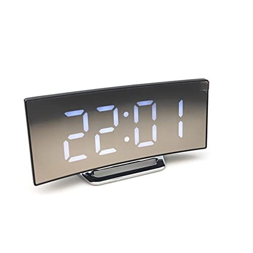 GDYJP Reloj de Alarma Digital Curved Dimmable LED electrónico Digital Desktop Reloj de Escritorio para niños Dormitorio Número Grande Reloj de Mesa (Color : A, Tamaño : One Size)