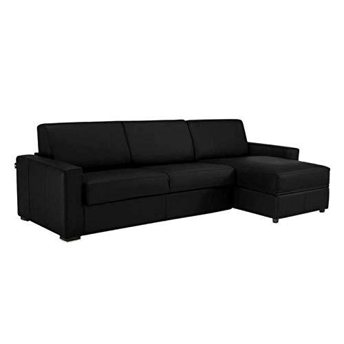Canapé d'angle Dreamer Convertible Ouverture RAPIDO 120cm Cuir Vachette Noir Couchage Quotidien