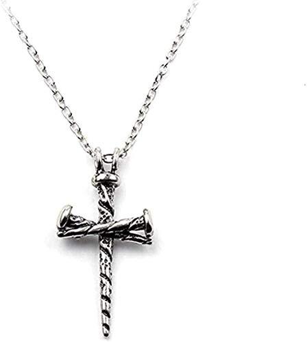 YZXYZH Collar Tatuaje Hiphop Rock Aleación De Zinc Fundición De Uñas Cruz Colgante Personalizado Collares Moda Antigua Joyería De Nudillos