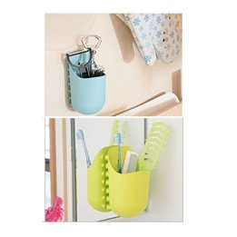 Wash the bathroom with a suction cup suction wall mirror storage cylinder / comb debris storage barrels / kangaroo pocket storage bins