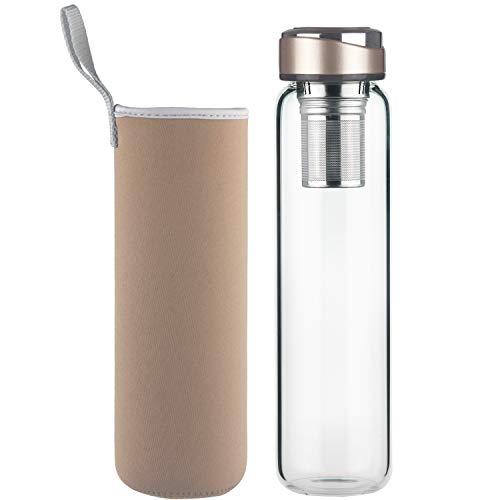 DEARRAY Botella de Té de Cristal con Infusor de Acero Inoxidable 600 ml / 1000 ml / 1 litro, Termo para Té de Vidrio de borosilicato con Funda de Neopreno y Elegante Tapa de Acero Inoxidable