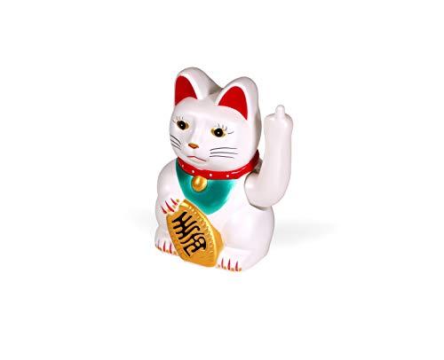 Kwirkworks Maneki Neko Glückskatze – Mittelfinger winkende Figur – 16 cm hoch – lustiges Geschenk