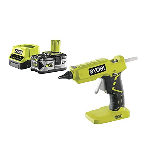 Ryobi Pack Pistolet à Colle 18V OnePlus R18GLU-0-1 Batterie 5.0Ah - 1 Chargeur Rapide 2.0Ah RC18120-150