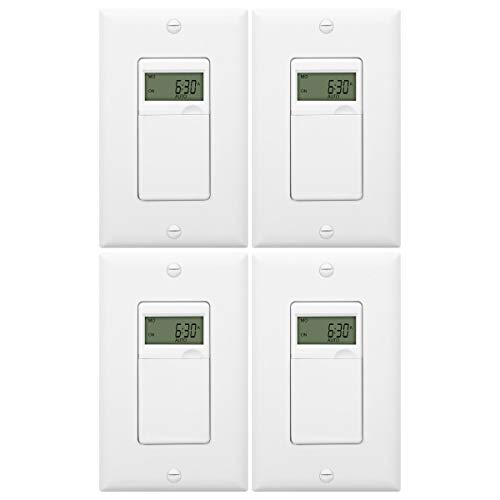ENERLITES Programmable Digital Timer Switch for Lights, Fans, Motors, 7-Day 18 ON/OFF Timer Settings, Single Pole, Neutral Wire Required, UL Listed, HET01-C, White, 4 Pack