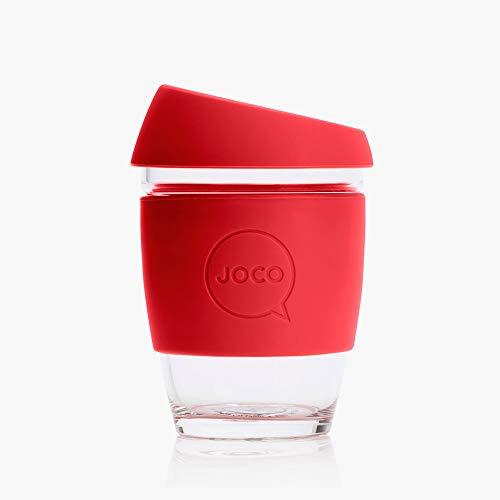 Joco Kaffeebecher aus Glas, wiederverwendbar, 340 ml rot