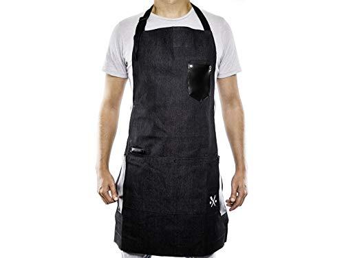 PESANI Mandil Negro Mezclilla para Restaurante, Chef, meseros, Hostess, me……
