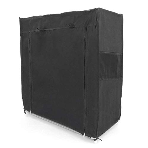 PrimeMatik - Garderobekast en schoenenrek in afneembare stof 60 x 30 x 76 cm zwart met roldeur