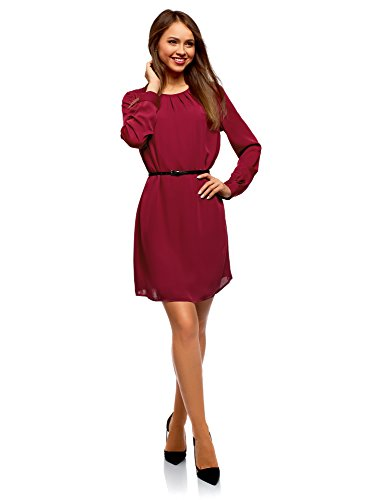 oodji Ultra Damen Kleid aus Fließendem Stoff mit Gürtel, Rot, DE 42 / EU 44 / XL