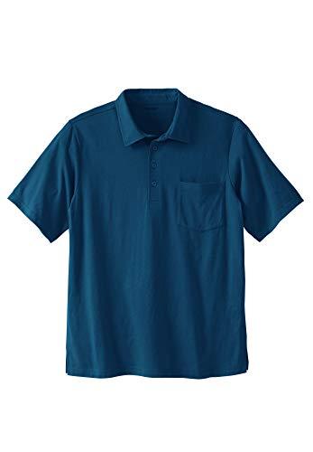 KingSize Men's Big & Tall Lightweight Pocket Golf Polo Shirt - Tall - 4XL, Navy