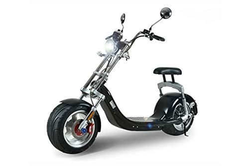 ES-TOYS Elektro Scooter Coco Bike mit Straßenzulassung bis zu 45 km/h schnell - ca. 40 km Reichweite, 60V | 12AH Lithium Akku -C14 (Schwarz)