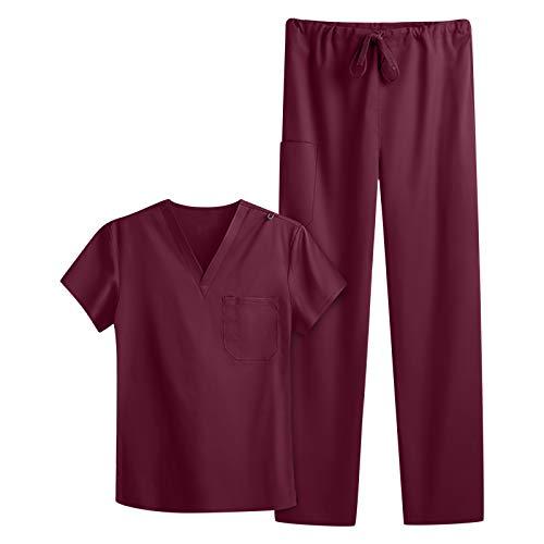 SOYOU Uniforme Médicale Unisexes Ensemble: Haut et Pantalons + Blouse Medicale Femme/Homme - Tenue Aide Soignante Professionnelle