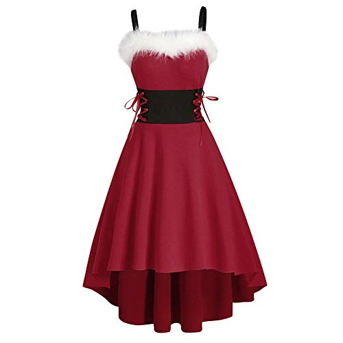 Phosphor Disfraz de Navidad europeo y americano de felpa, sexy, con tirantes en la cintura, vestido irregular
