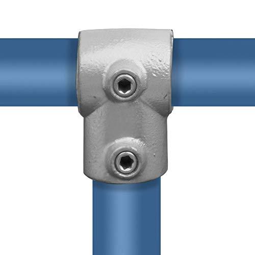 Klemp - T-Verbinder/T-Stück, Rohrverbinder, kurz, 90-Grad, Temperguss galvanisiert, feuerverzinkt, inkl. Schrauben, Typ 2F - 60,3 mm / 2